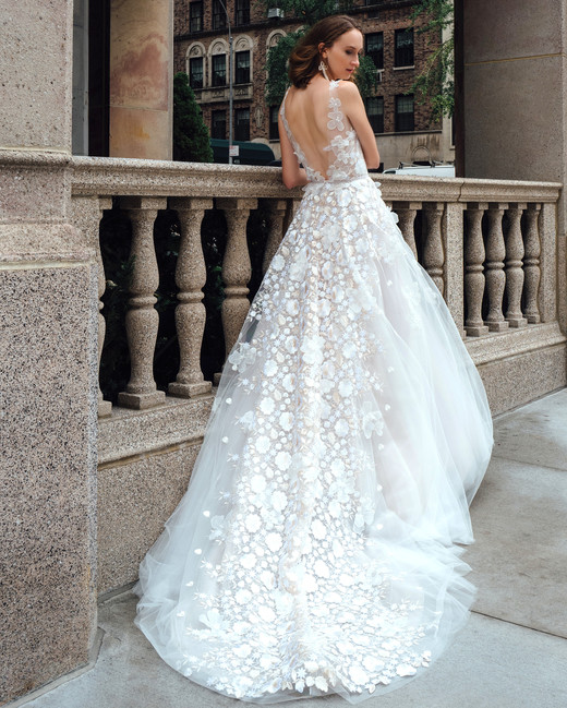 mira zwillinger dress fall 2019 ball gown illusion sleeveless floral applique train