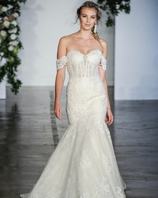 Morilee Off-the-Shoulder Trumpet Wedding Dress Fall 2018