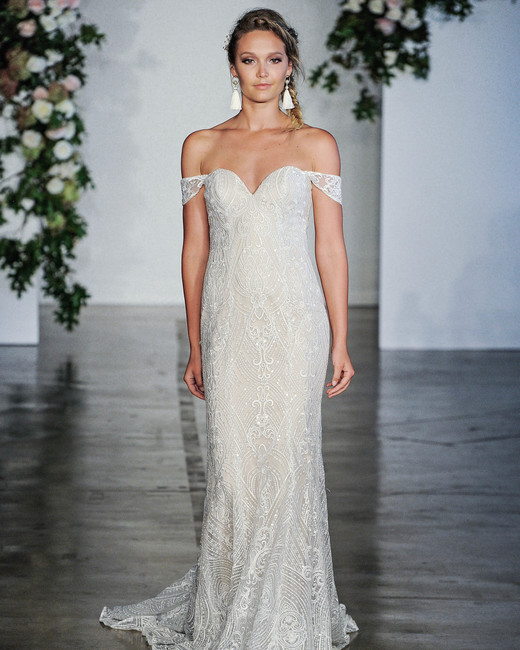 Morilee Off-the-Shoulder Sweetheart Sheath Wedding Dress Fall 2018
