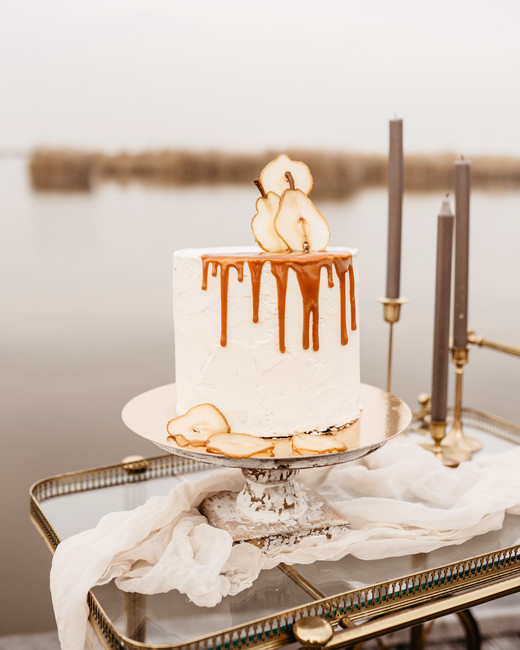 white cake with a caramel drip