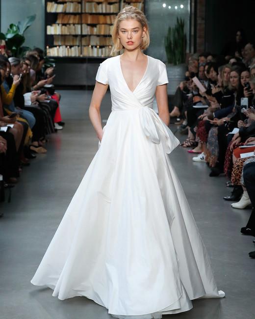nouvelle amsale wedding dress short sleeves wrap a-line