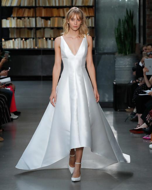 nouvelle amsale wedding dress satin high-low a-line deep v-neck