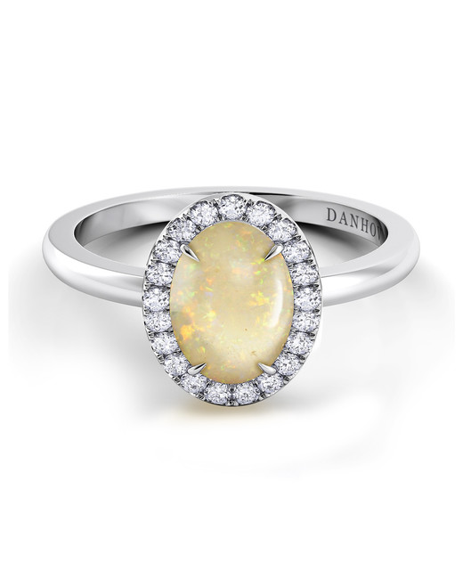 silver band opal engagement ring