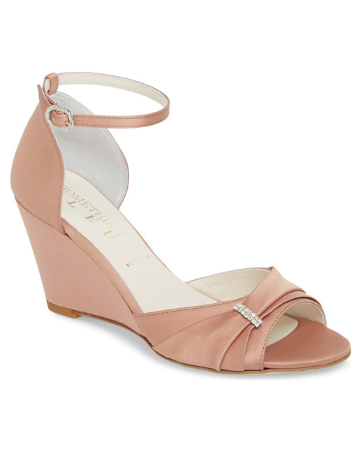 outdoor wedding shoes peep-toe ankle strap wedge sandal