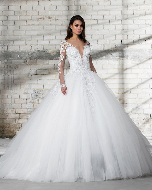 Pnina Tornai Wedding Dress Spring 2019 Ball Gown Long Sleeves Deep V