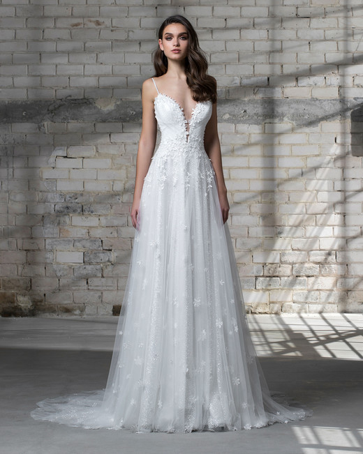 Pnina tornai for kleinfeld spring 2019 wedding dress collection pnina tornai wedding dress spring 2019 spaghetti strap a line deep v junglespirit Gallery