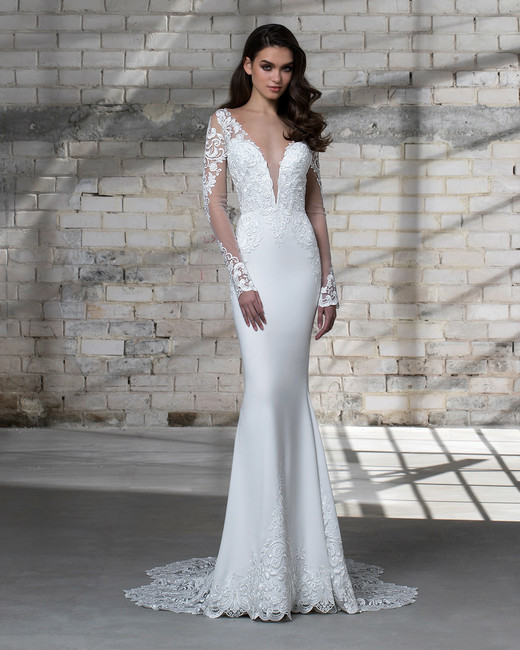 Pnina tornai for kleinfeld spring 2019 wedding dress collection pnina tornai wedding dress spring 2019 deep v trumpet long sleeves junglespirit Gallery