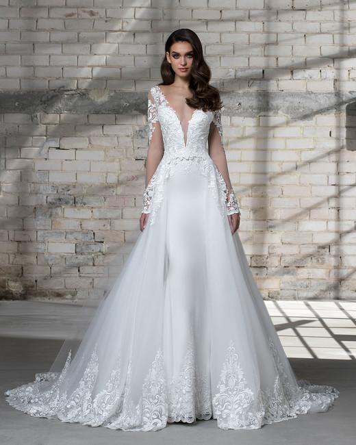 pnina tornai wedding dress spring 2019 deep v ta-line long sleeves
