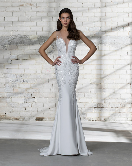 pnina tornai wedding dress spring 2019 beaded trumpet sleeveless