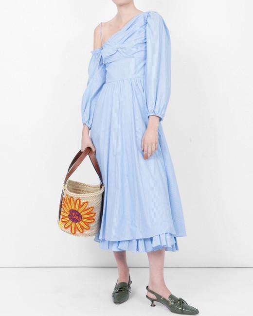 asymmetrical blue pinstripe alexa chung dress