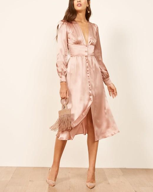 pink silk long sleeve button up midi dress