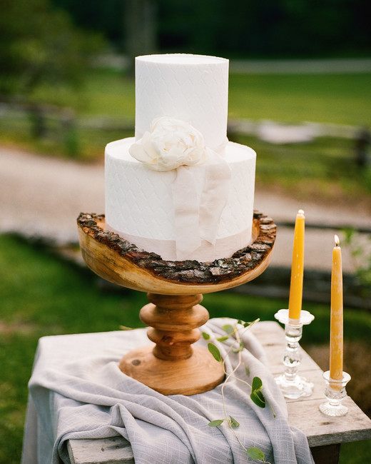 ribbon cake on wood serving dish