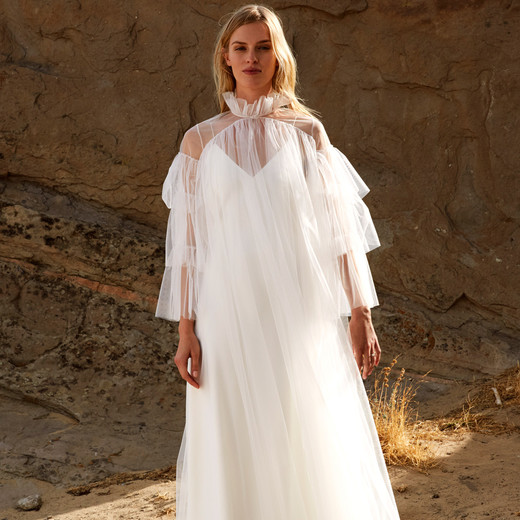savannah miller fall 2018 high collar chiffon overlay wedding dress