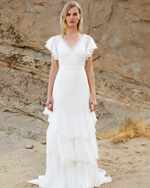 savannah miller fall 2018 v-neck flutter sleeve wedding dress