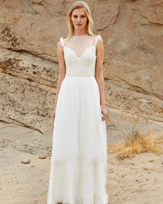 savannah miller fall 2018 spaghetti strap chiffon high-neck wedding dress