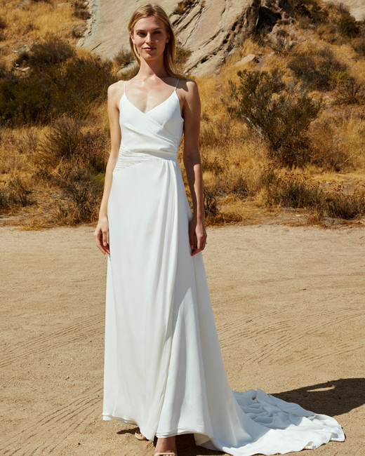 savannah miller fall 2018 wrap spaghetti strap wedding dress