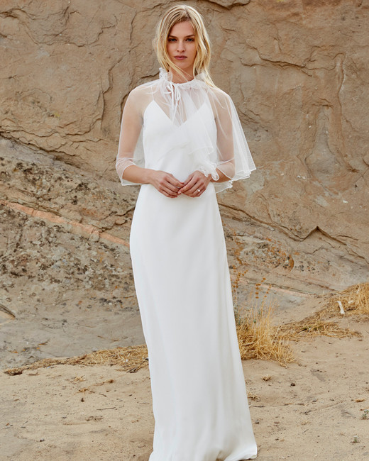 savannah miller fall 2018 chiffon cape spaghetti strap wedding dress