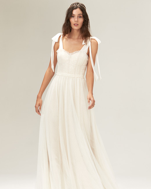 savannah miller fall 2019 a line sweetheart sleeveless lace overlay
