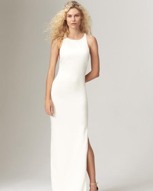 savannah miller fall 2019 mermaid slit high neck sleeveless minimalist