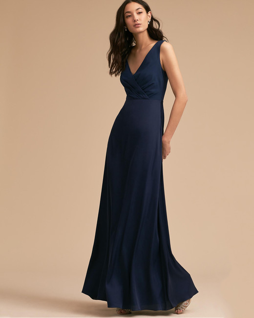 navy silk bridesmaid dress