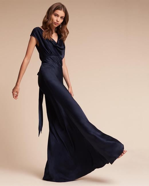 blue silk gown