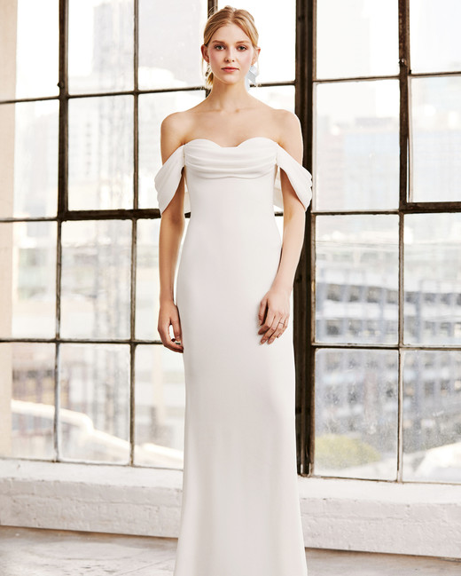 tadashi shoji wedding dress spring 2019 off the shoulder column