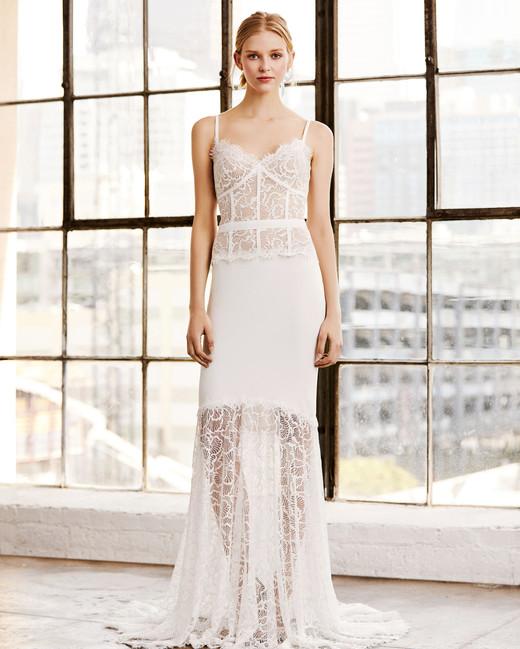 Tadashi Shoji Wedding Dress Spring 2019 Spaghetti Strap Lace Sheer