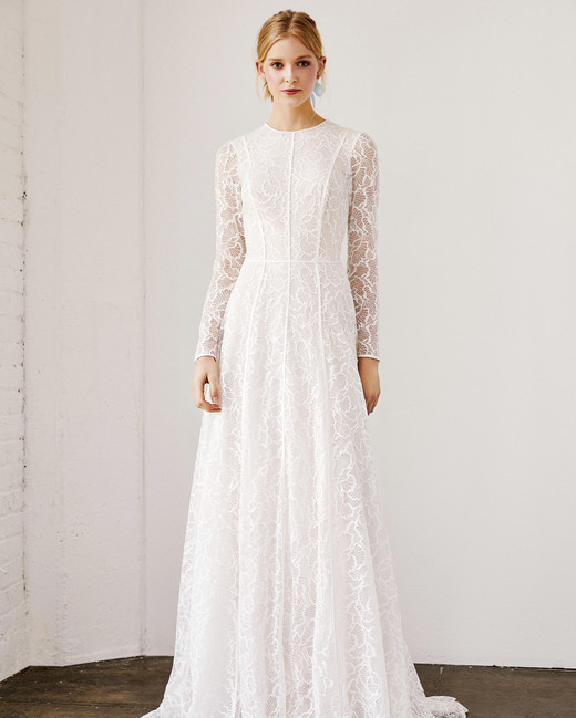 tadashi shoji wedding dress spring 2019 long sleeves lace a-line