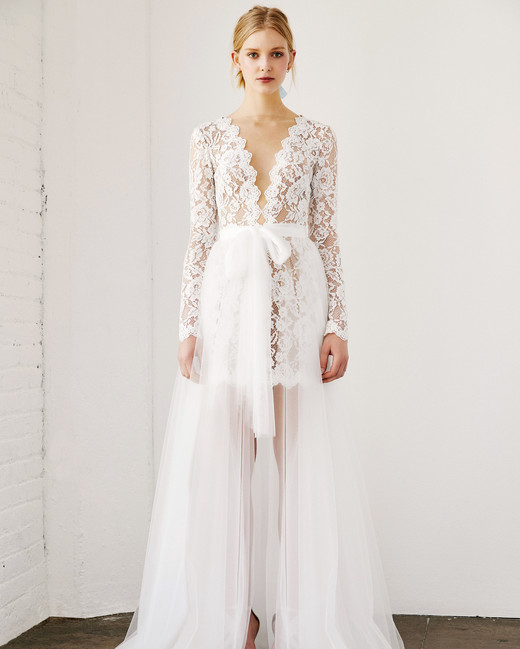 tadashi shoji wedding dress spring 2019 deep v long sleeves lace layered skirt