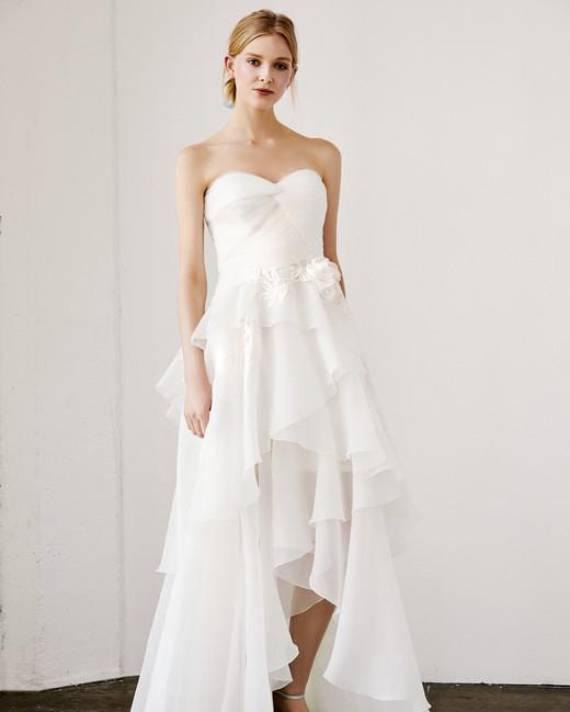 tadashi shoji wedding dress spring 2019 strapless tiers ruffles