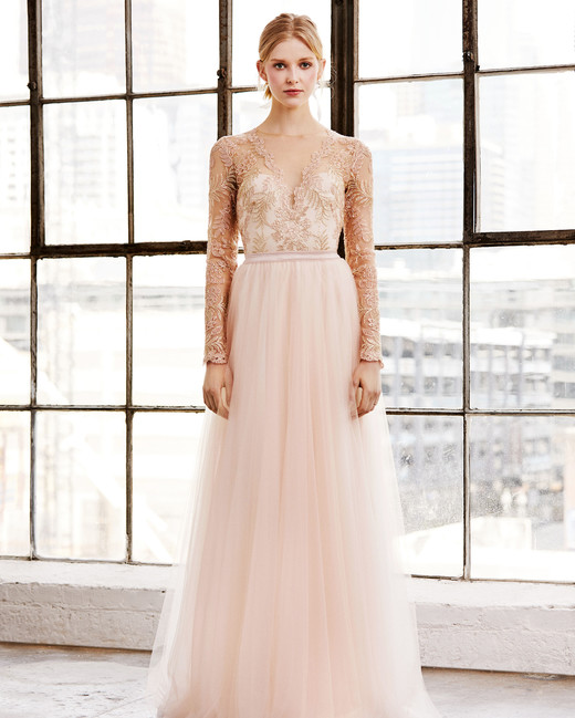 tadashi shoji wedding dress spring 2019 long sleeves tulle lace peach pink