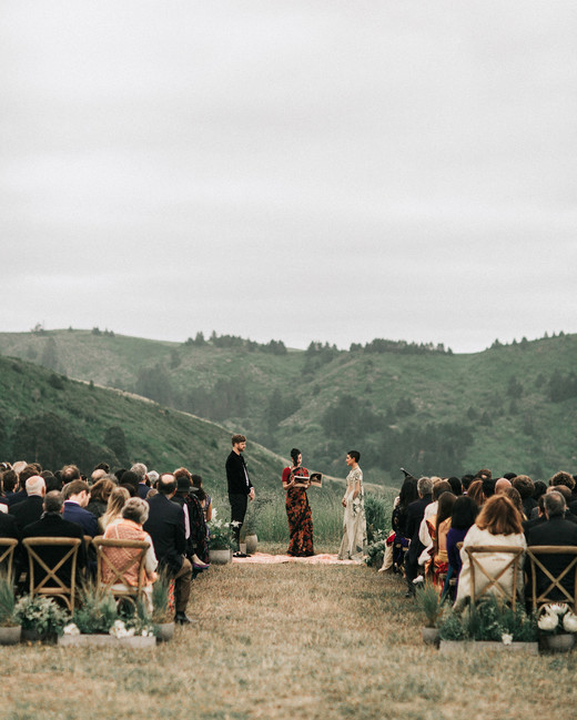 zai phil camping wedding ceremony guests couple officiant