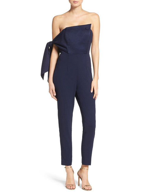 navy jumpsuit side tie