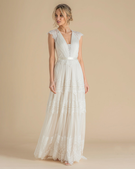 catherine deane wedding dress spring 2019 boho v-neck cap sleeve