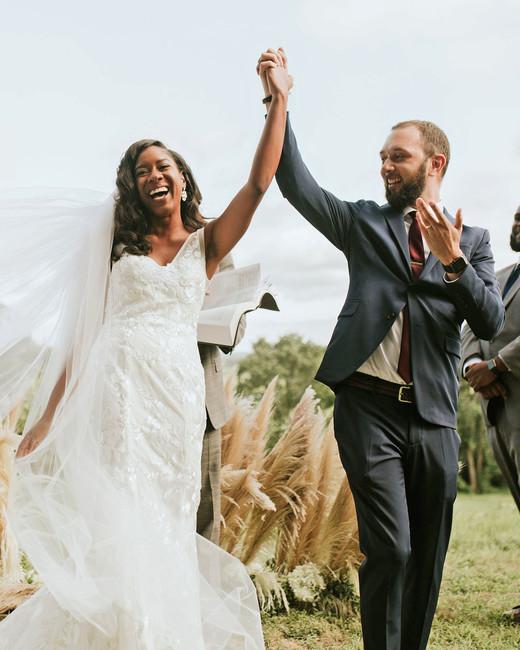 ferbie rob boho wedding couple recessional
