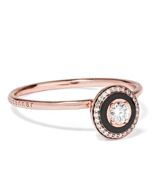 """Selim Mouzannar """"Mina"""" 18-Karat Rose Gold, Enamel, and Diamond Ring"""