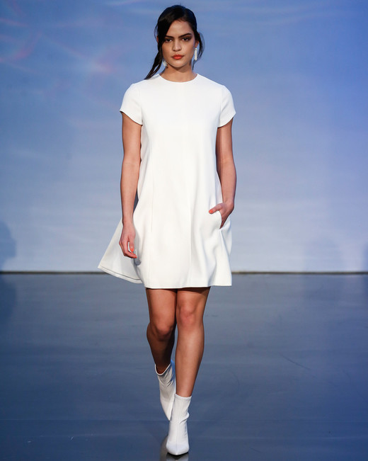 justin alexander signature fall 2019 short sleeve high neckline short dress with pockets