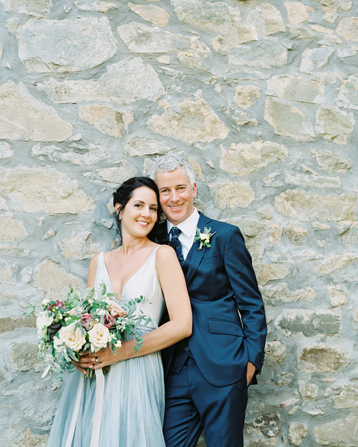 kelly pete wedding couple stone wall portrait