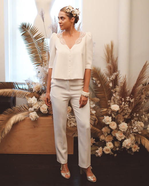 laure de sagazan fall 2019 pants v neck three quarter sleeve buttons lace separates