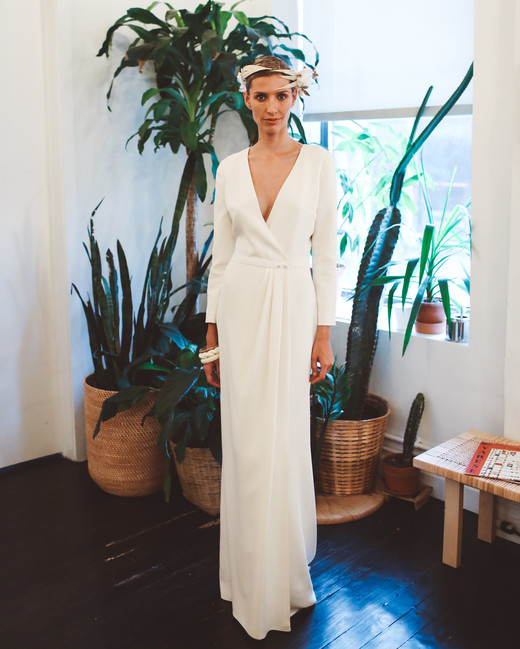 laure de sagazan fall 2019 mermaid plunging v neck long sleeves minimalist