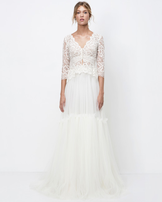 lihi hod a-line wedding dress with three-quarter length sleeves fall 2018
