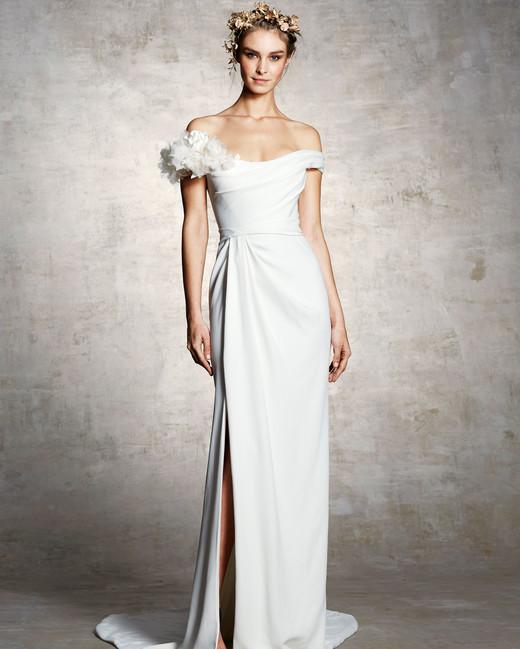 marchesa bridal wedding dress off the shoulder slit flower embellishment