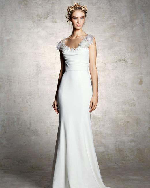 marchesa bridal wedding dress trumpet embellished neckline