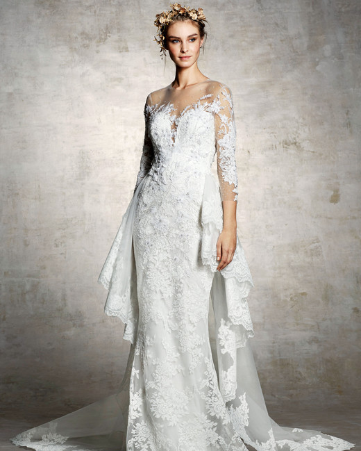 marchesa bridal wedding dress floral embroidery long sleeves illusion