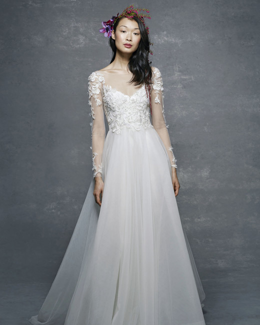 marchesa notte bridal wedding dress long sleeves illusion