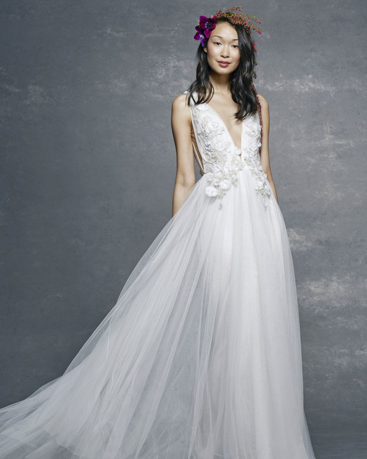 marchesa notte bridal wedding dress deep v-neck ball gown