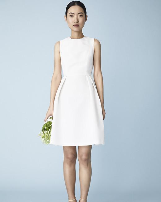 knee-length jewel neckline Molly Mookkamp Spring 2020 wedding dress