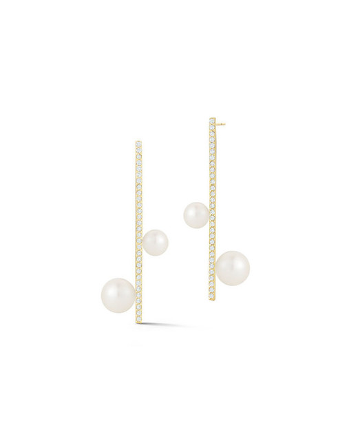 pearl wedding earrings mateo new york diamond bar