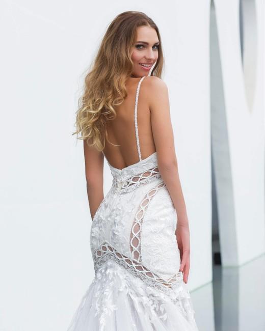 spaghetti strap trumpet persy wedding dress spring2018