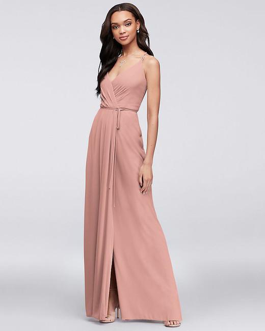 pink bridesmaids spaghetti strap v-neck dress